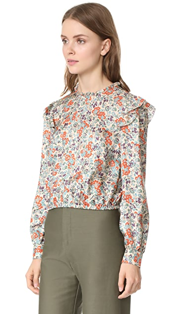 RED Valentino Bouquet Print Silk Blouse