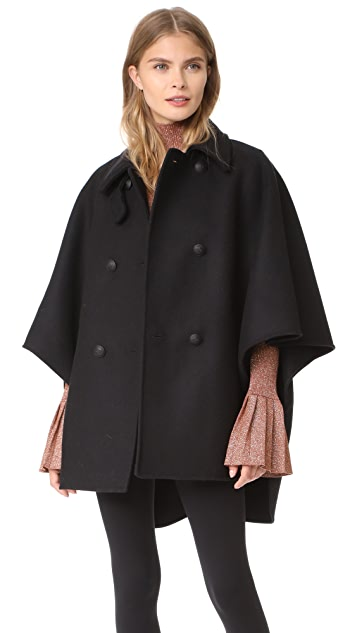 RED Valentino Double Breasted Wool Cape