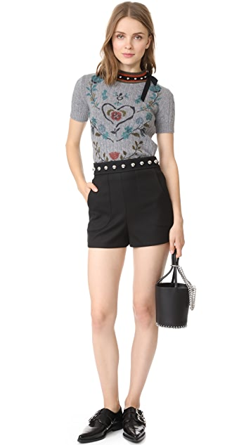 RED Valentino Studded Short Sleeve Sweatshirt