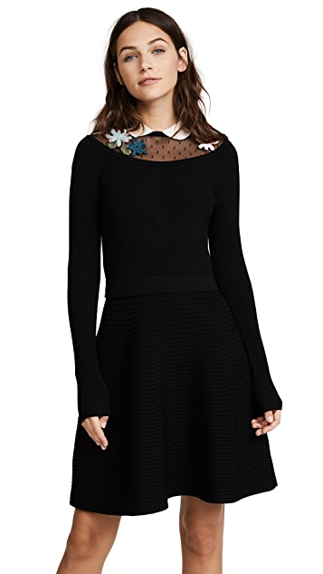 RED Valentino Long Sleeve Embroidered Dress
