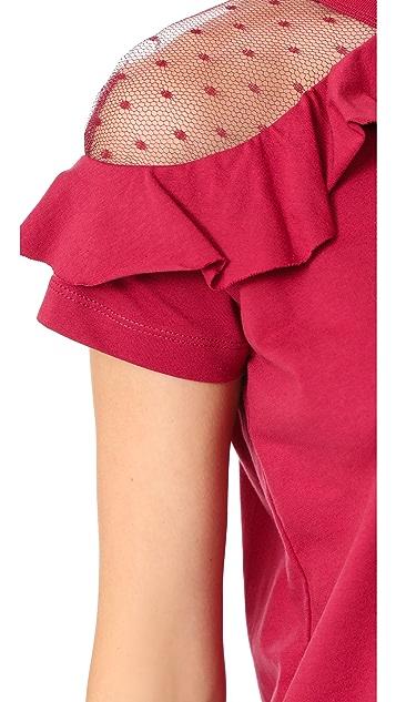 RED Valentino Short Sleeve Ruffle Tee