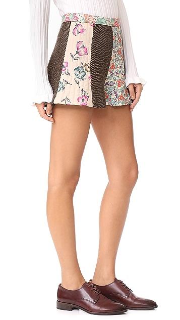RED Valentino Herringbone Floral Shorts