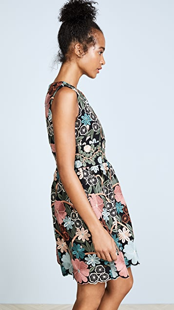 RED Valentino Crepe Embroidered Dress