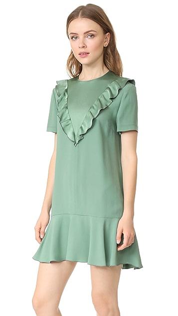 RED Valentino Ruffle Neck Crepe Dress