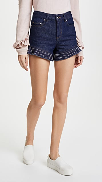 RED Valentino Studded Denim Shorts - Blue Denim