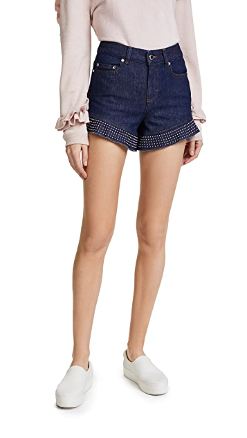 RED Valentino Studded Denim Shorts