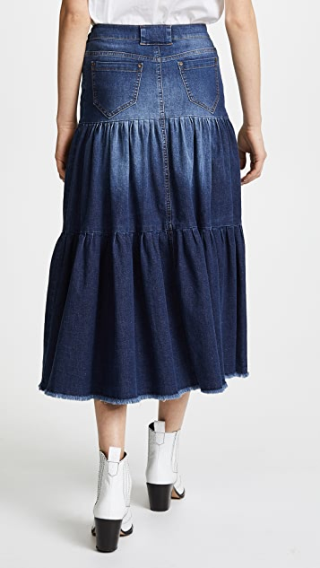 RED Valentino Tiered Denim Skirt