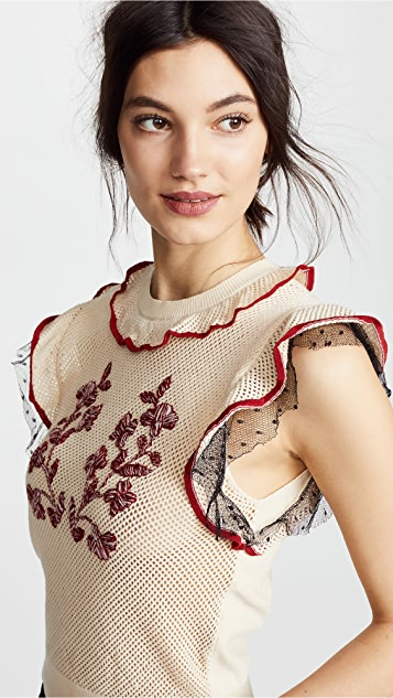 RED Valentino Tiered Shoulder Top