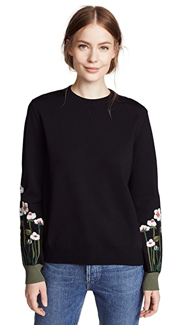 RED Valentino Flower Sleeve Pullover