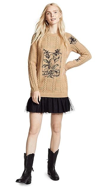 RED Valentino Printed Tunic Sweater Dress