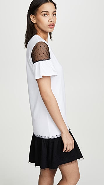 RED Valentino Short Sleeve Combo Lace T-Shirt Dress