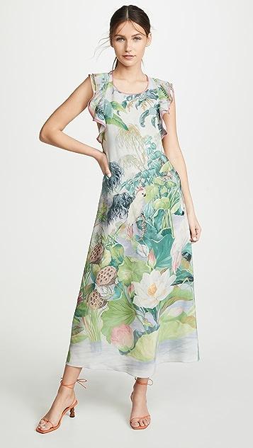 RED Valentino Sleeveless Floral Racerback Dress - Nuvola