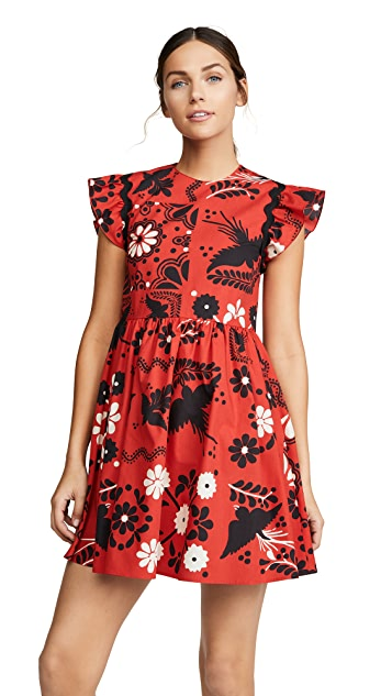 RED Valentino Flutter Sleeve Print Dress