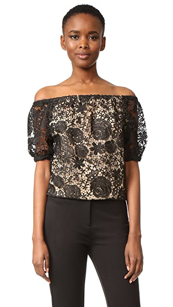Reem Acra Lace Off the Shoulder Top
