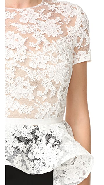 Reem Acra Short Sleeve Lace Top