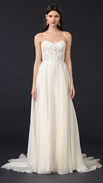 Reem Acra Alia Strapless Lace Gown