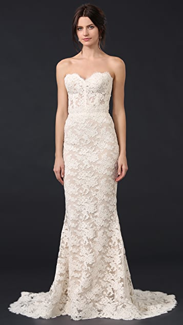 Reem Acra Angelica Lace Strapless Gown