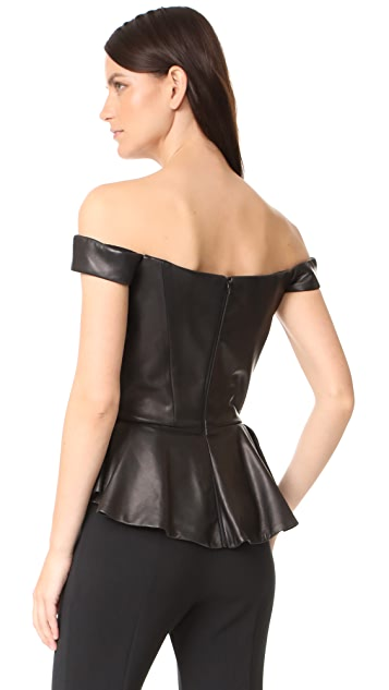 Reem Acra Leather Bustier Peplum Top