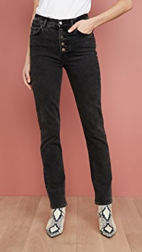 Liza High Straight Button Fly Jeans
