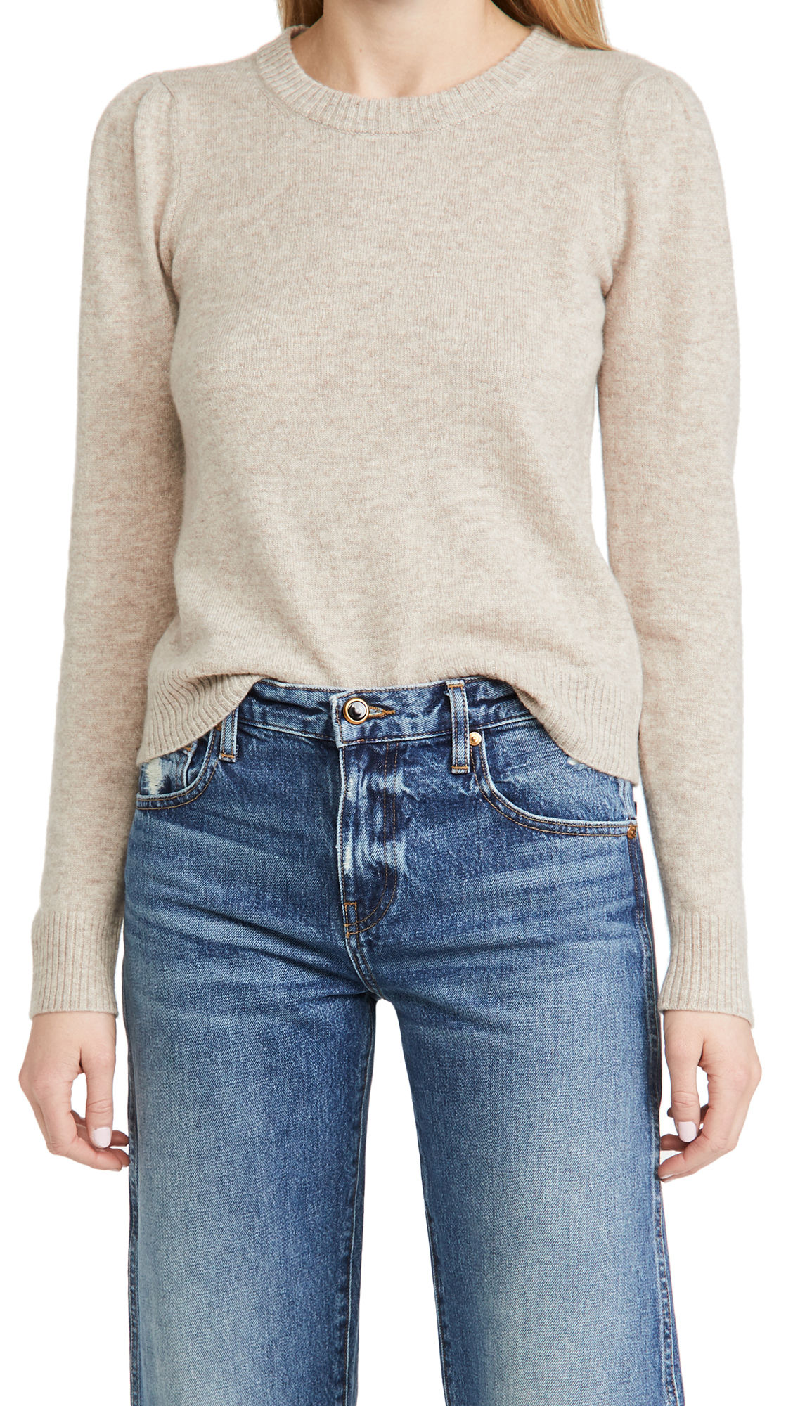 Reformation Cashmere Crew Puff Sleeve Sweater