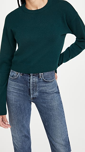 Reformation Relaxed Cropped Cashmere Crew Sweater