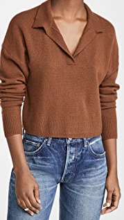 Reformation Cashmere Cropped Polo Sweater