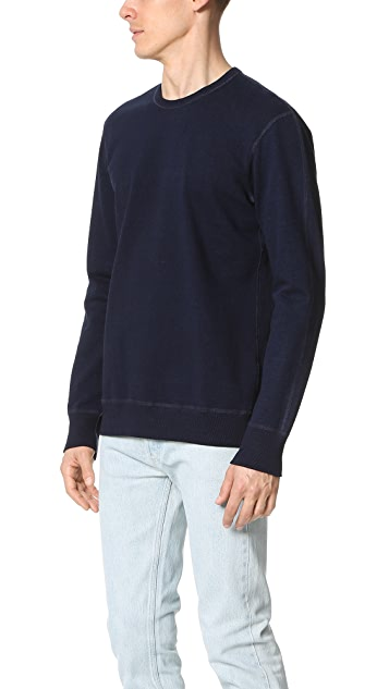 Reigning Champ Indigo Side Zip Crew Sweatshirt