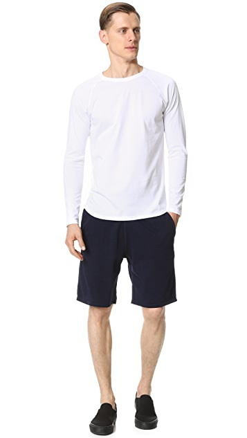 Reigning Champ Indigo Sweatshorts with Zip Back Pocket