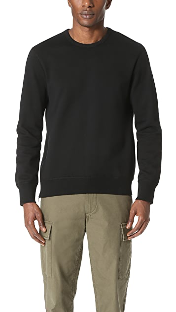 Reigning Champ Mid Weight Terry Side Zip Crew Sweatshirt