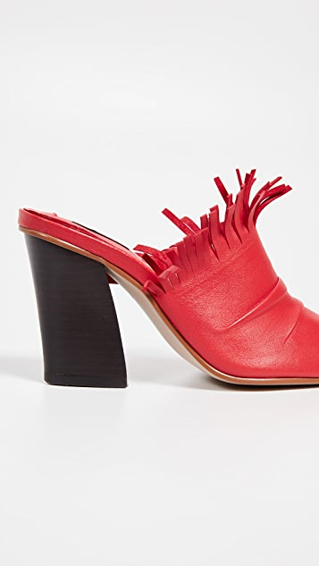 Reike Nen Туфли без задников с V-образным вырезом и бахромой
