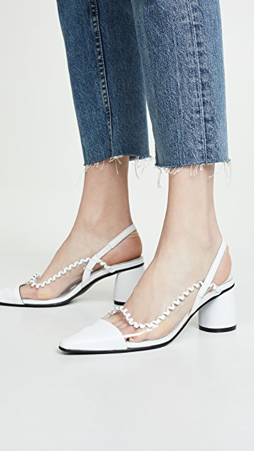 Reike Nen PVC Curved Middle Slingback Pumps