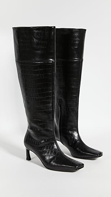 Reike Nen Pointed Square Mid-Heel Long Boots