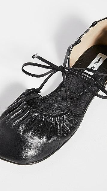 Reike Nen Open Sided 抽褶鞋头芭蕾平底鞋