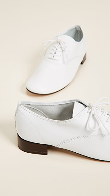 Zizi Lace Up Shoes in White Goatskin Repetto MffzKLlioI