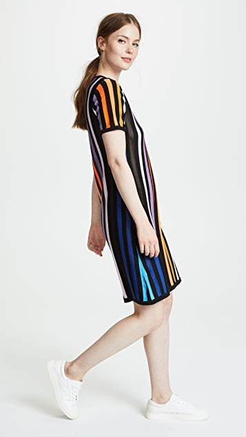 Replica Los Angeles Tee Shirt Dress with Instarsia Stripes