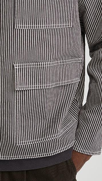 Robert Geller Striped Three Pocket Work Jacket