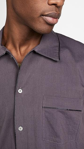 Robert Geller Piped Button Down Night Shirt