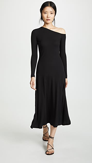 Rosetta Getty One Shoulder Flare Dress