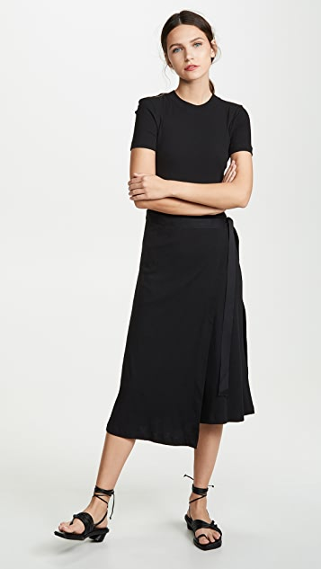 Rosetta Getty Short Sleeve Apron Wrap Tunic