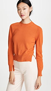 Rosetta Getty Cropped Slit Pullover Sweater
