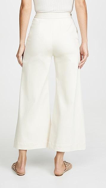 Rosetta Getty Pintuck Flare Crop Trousers