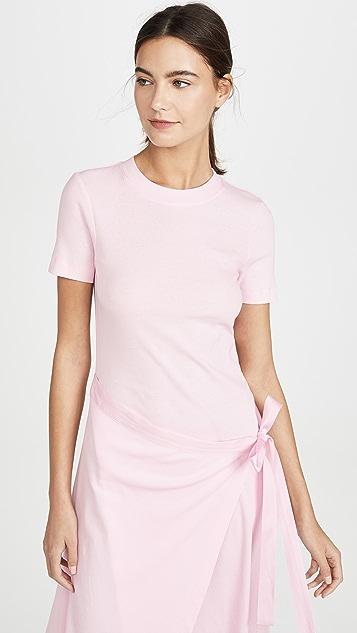 玫瑰红灰色 围裙式短袖 T 恤连衣裙