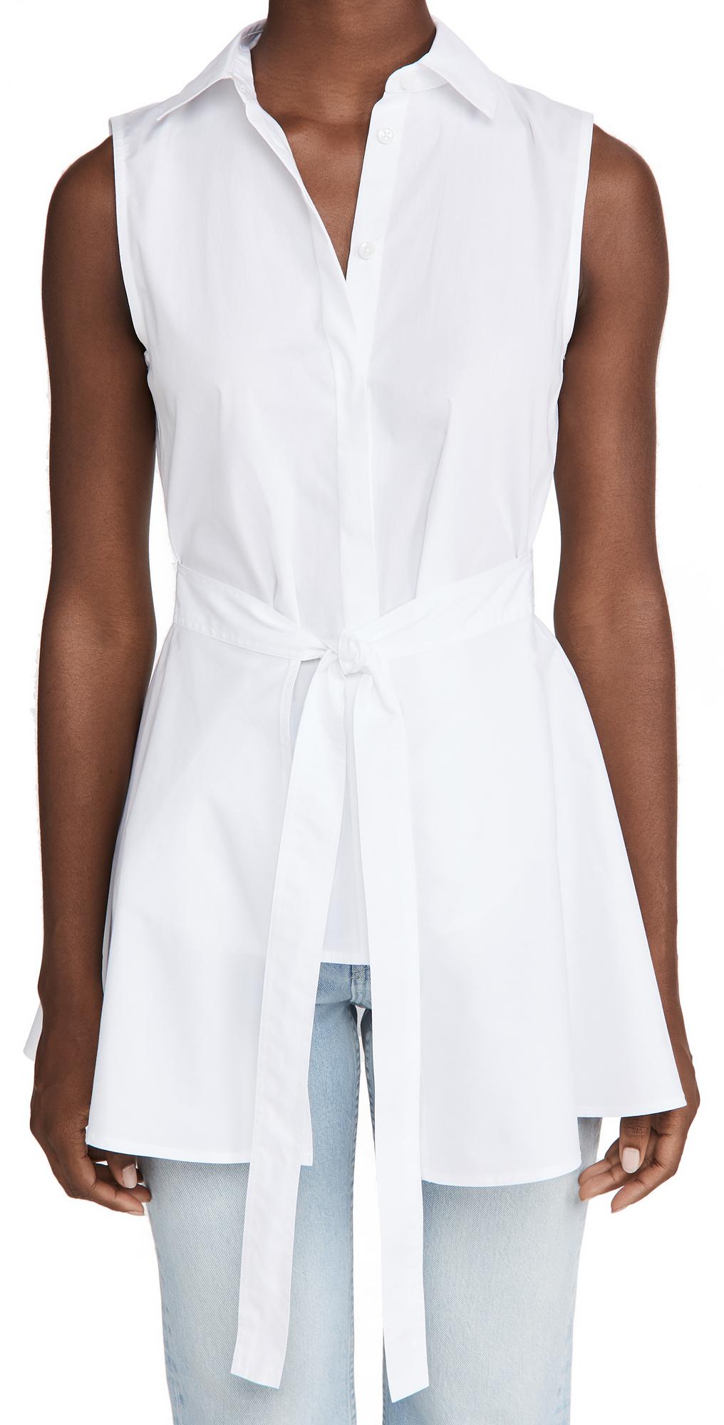 Rosetta Getty Sleeveless Apron Wrap Shirt