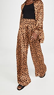 Rosetta Getty Gathered Waist Pants Leopard