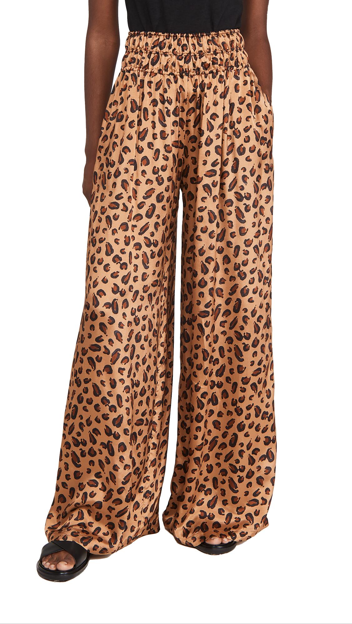 Rosetta Getty Gathered Waist Pants Leopard