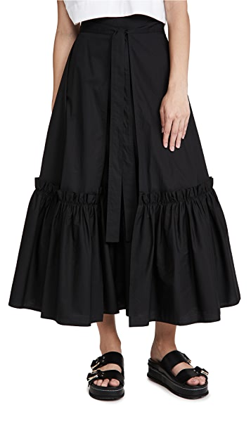 Rosetta Getty Gathered Hem Wrap Skirt
