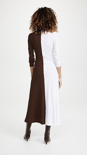 Rosetta Getty Long Sleeve Zip Up Turtleneck Dress