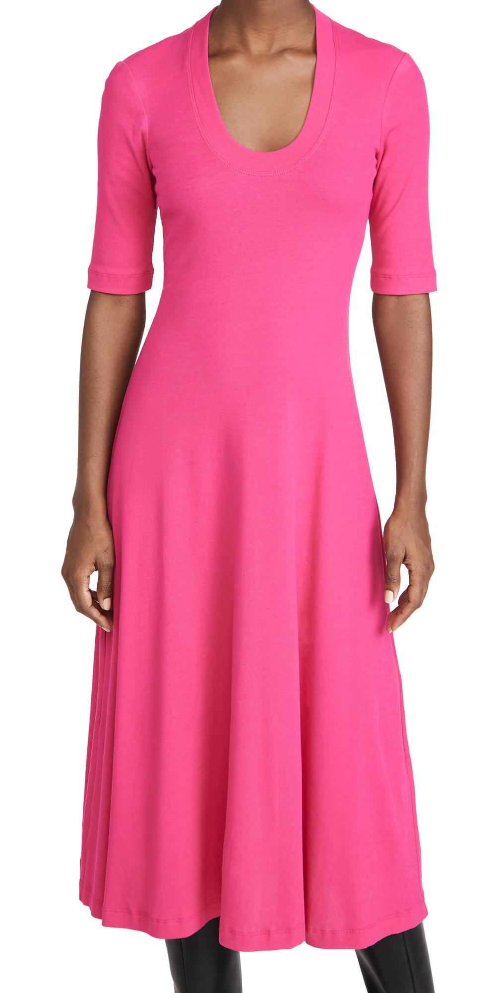 Rosetta Getty Cropped Sleeve U Neck T-Shirt Dress