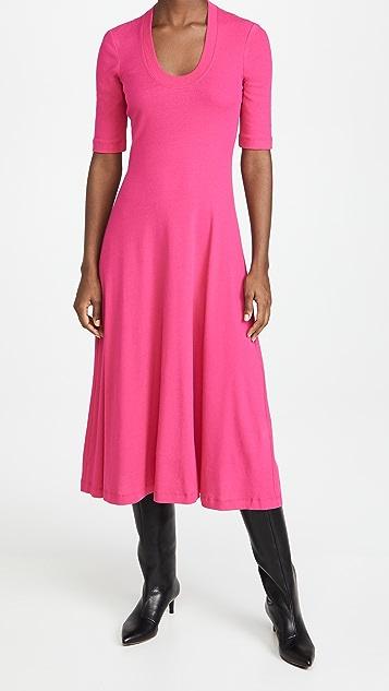 Rosetta Getty 短袖 U 领 T 恤连衣裙