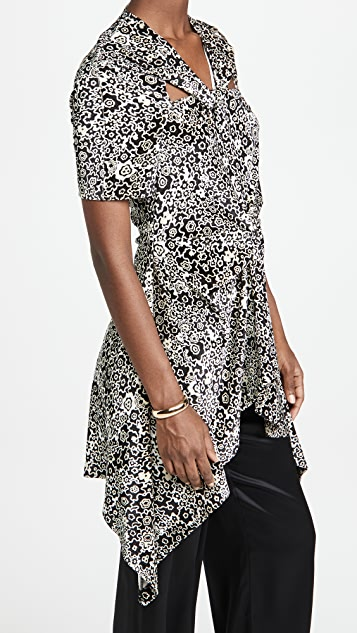 Rosetta Getty 扭褶结饰花卉印花上衣